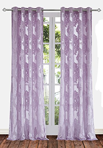 Ifblue 2 Panels Grommet Top Sheerness Velvet Cutting Flower Sheer Window Light Filtering Classic Curtains Drapes for Bedroom Kids Living Room(52