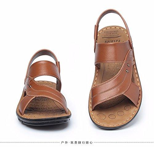 Männer Sandalen Das neue Echtleder Sandalen Männer Freizeit Schuh Strand Schuh Männer Sandalen Sommer Männer Schuh Trend ,Gelb,US=7.5,UK=7,EU=40 2/3,CN=41