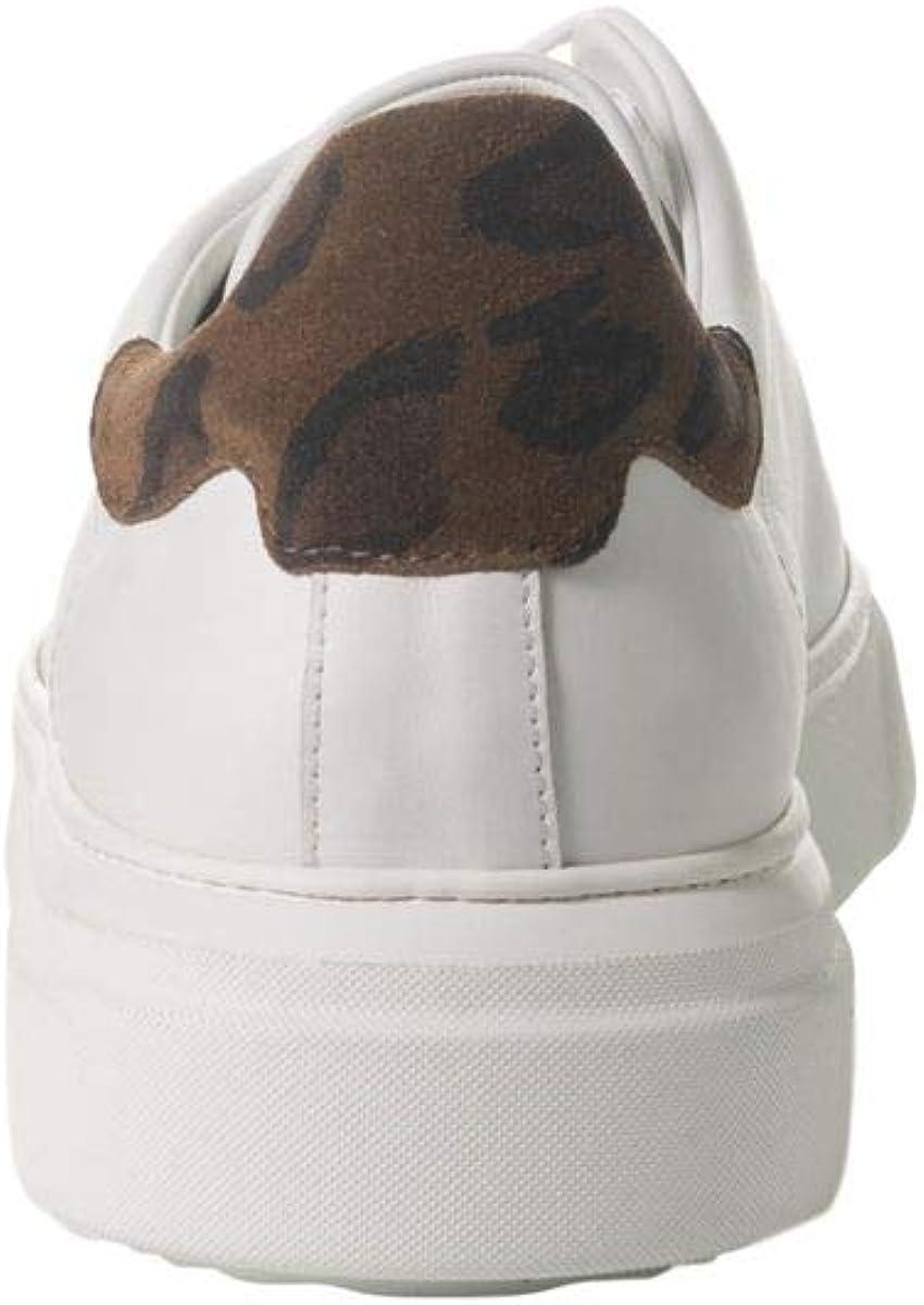 MEMENTO Sneakers cuir blanc moustache chamois taillé Art. BAMABA Blanc