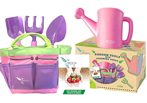 Pink Gardening Tools for Kids with STEM Early Learning Guide by ROCA Home. Christmas Garden Toys, Outdoor Toys and Learning Toys. Cute Pink and Purple Garden Bag. (Healthy Easter Baskets For Kids)