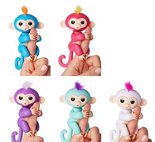 Set Of Five  5  Authentic Fingerlings Interactive Pet Baby Monkeys  Bella  Pink   Boris  Blue   Mia  Purple   Zoe  Turquoise   Sophie  White