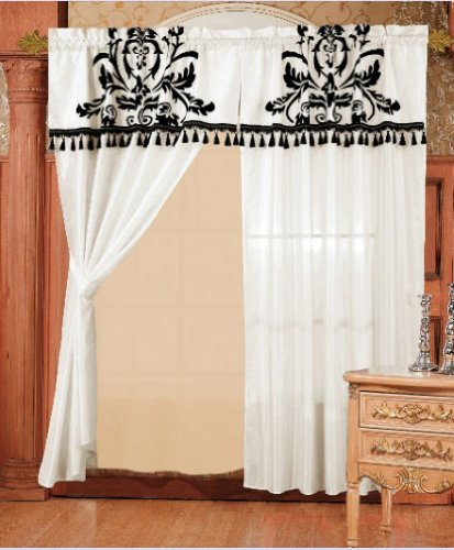 Modern black and white floral window curtain drape set for 120 inch window treatments