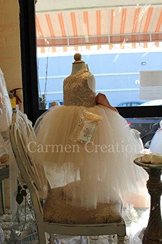 Champagne/Gold Flower Girl Dress by Carmen Creation