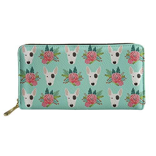 Terrier Wallet - HUGS IDEA Animal Design Ladies Purese Flowers Pit Bull Terrier Prints Long Zipper Wallet