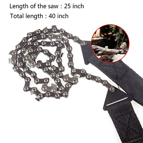 Pocket Chainsaw Kit 40 Inch Long Chain, CBTONE Portable Pocket Camping Survival Gear Folding Hand Chain Saw with Fire Starter Tool for Survival Gear, Camping, Hunting, Tree Cutting or Any Home Owner