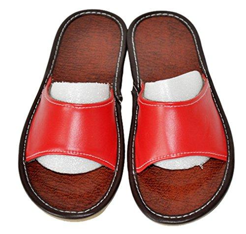 Pantofole Da Donna Cattior Open Toe In Pelle Pantofole Estive Rosse
