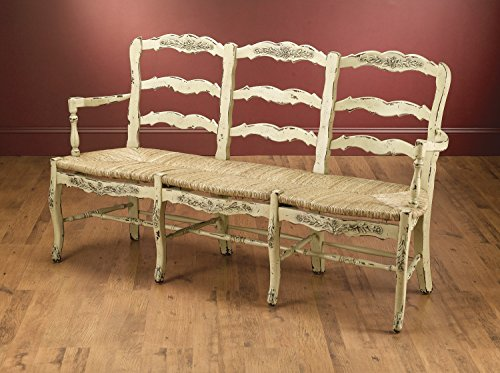 (AA Importing Wood Bench 43437-Pm 3 Seater Country French Bench 67 X 41 X 24 Inches Beige)