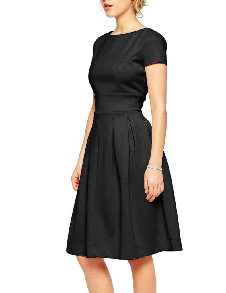 GownTown Womens dresses 1950s Vintage Dresses Short Sleeve Swing Vintage Dresses Black S by GownTown