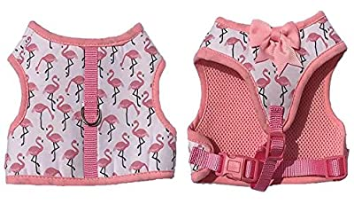 Pink Flamingo Soft Dog Harness With Bow Tie