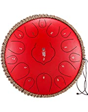 13 Inch Steel Tongue Drum, 15 Tune Hand Pan Drum Tank Hang Drum With Drumsticks Carrying Bag Percussion Instruments, Tonic Sticker and Travel Bag