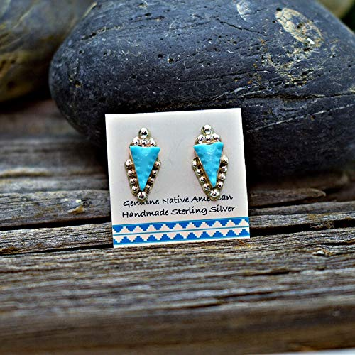 - Genuine Sleeping Beauty Turquoise Stud Earrings in 925 Sterling Silver, Handcarved Arrowhead Design, Authentic Native American, Handmade in the USA, Nickle Free
