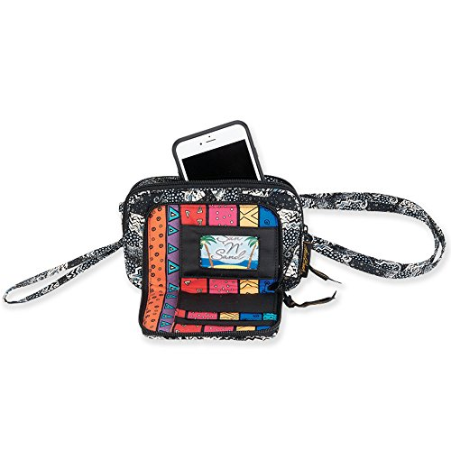 Laurel Burch Quilted Cotton All in 1 Wallet Organizer Wristlet Crossbody Bag (Polka Dot Cats) ()