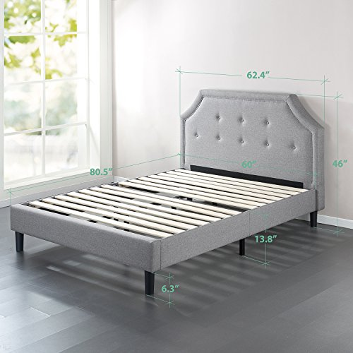 Zinus Lyon Upholstered Button Tufted Platform Bed with Wooden Slat Support, Queen