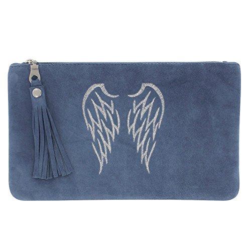 LES POULETTES Wildleder Tasche Bestickte Zwei Engelsflügel Farbe Blau