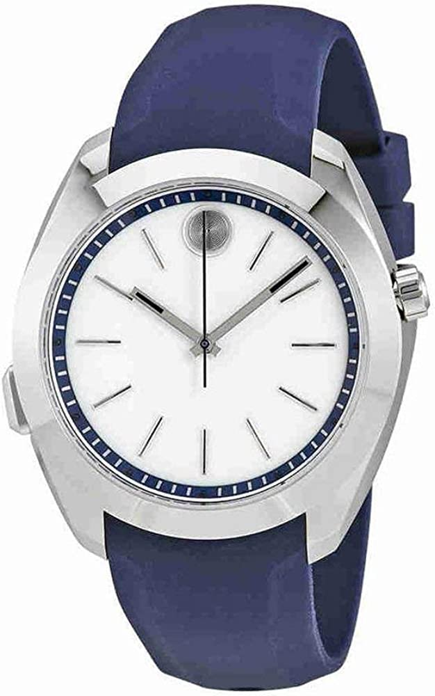 Movado Women's Stainless Steel Swiss-Quartz Watch with Silicone Strap, Blue, 20 (Model: 3660011)