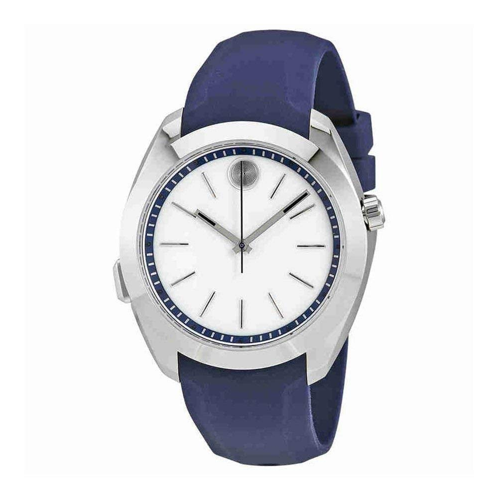 Movado Women s Stainless Steel Swiss-Quartz Watch with Silicone Strap, Blue, 20 Model 3660011