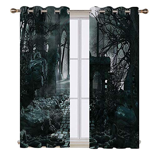 SATVSHOP Textured Blackout Curtains - 96W x 108L Inch- Gothic Full Moon Light Over Medieval Temple uins at Night Dark Scary Backdrop Image Blue Grey.]()