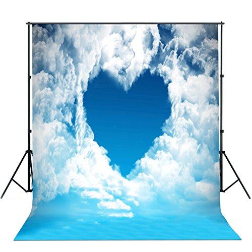 Valentine's Day Backdrops Blue Sky White Clouds Backgrounds for Lovers for Valentine's Day Backgrounds Studio Photo Backdrops 7 x 5ft