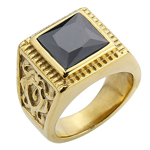 Diamond Ring Stainless steel simple Gold Flower Band Rings For Men Wedding party Jewelry (Black CZ, 11) ()