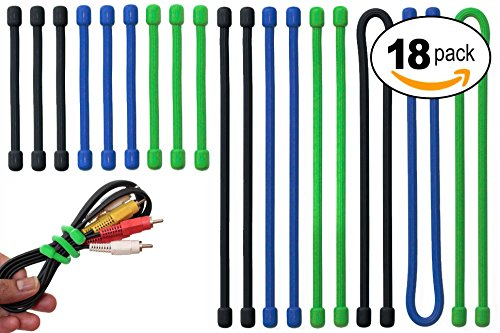 Acrodo 18-pack Rubber Gear Ties, 3, 6 & 12 inch - Organize Household Electronics, TV, Computer, Backpack - Bendable Wire Holder, Cable Manager & Cord Keeper for Travel