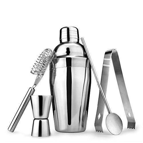 Hli-SHJHsmu Cocktail Shaker Stainless 5pcs/Set Tool 750ml Steel Bartender Drink Mixer Bar