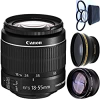 Canon 18-55mm IS STM Lens (WHITE BOX) + 4pc Macro Lenses Set (+1 +2 +4 +10) + High Definition Wide Angle Auxiliary Lens + High Definition Telephoto Auxiliary Lens