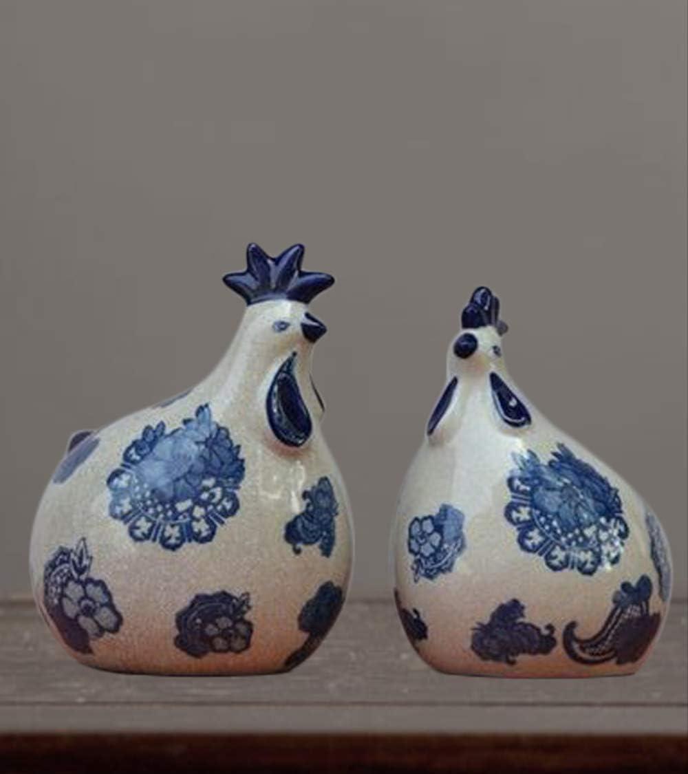 Terrarium Figurine Pottery Animal Blue and White Chicken Shadow Box Animal Blue and White Decoration Chicken Figurine Blue Hen