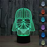 SmartEra® 3D Star Wars Darth Vader Model 7 Color Change Fantastic USB Touch Button LED Desk Table Light Lamp