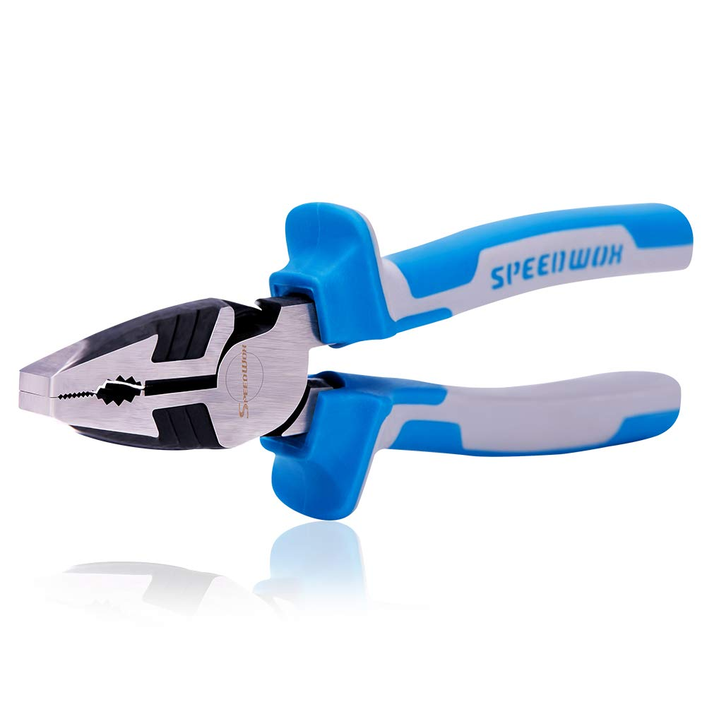 SPEEDWOX Combination Pliers Heavy Duty Lineman Pliers 8 Inch Reduce Effort by 35% Compound Action Multi Use Wire Cutters Side Cutting Remove Screws Bolts High Leverage Serrated Jaw Professional Tool