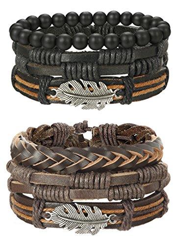 FIBO STEEL 6 Pcs Leather Bracelet for Men Women Tribal Bracelets Leather Wristbands Adjustable SY from FIBO STEEL