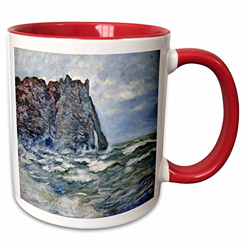 Rough 1883 (3dRose FabPeople - Claude Monet Portraits - Port d Aval, Rough Sea, Claude Monet Painting 1883, PD-US - 15oz Two-Tone Red Mug (mug_179239_10))