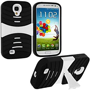 Accessory Planet(TM) Black / White Hybrid Heavy Duty Hard/Soft Silicone Case Cover with Horizontal Stand for Samsung Galaxy S4