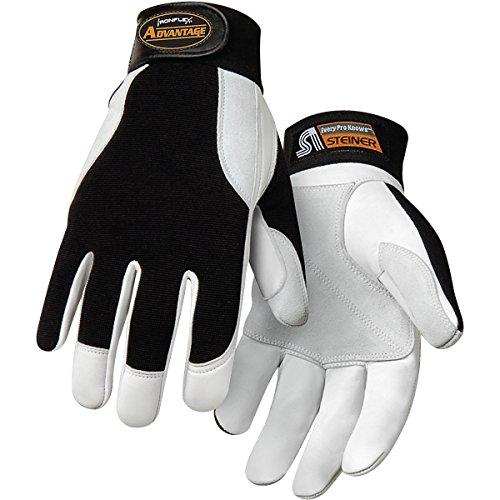 Steiner 0944-L Ironflex Work Gloves, Advantage Grain Goatskin Black Spandex,