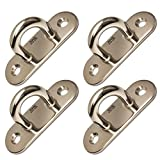 4-pcs Stainless Steel Wall Mount Hook/Pad Eye (3-inch)