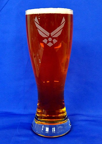 Custom Etched U.S. Air Force Emblem on 23 Oz Pilsner Glass Set of 2