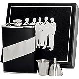Visol VSET62-2025 Descent Leather Groomsmen II Flask Gift Set, 8-Ounce, Black