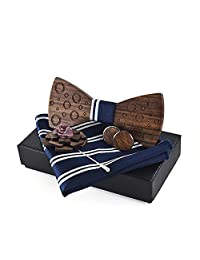 Mozee Wooden Bow Tie Gift Set, Wooden Neck Tie With Brooch and Cuff-links(M76)