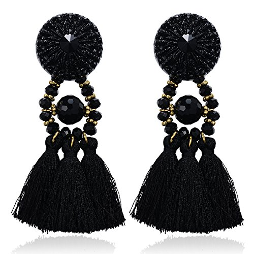 [eManco Vintage Statement Black Tassel Drop Dangle Earrings for Women Handcrafted Crystal Casual] (Unique Costume Jewelry Rings)
