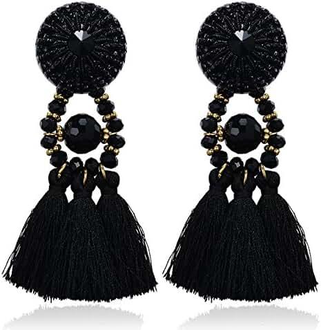 eManco Vintage Statement Black Tassel Drop Dangle Earrings for Women Handcrafted Crystal Casual Jewelry