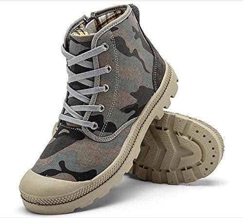 Dayiss Herren Camouflage Segeltuchschuhe Sneaker high-top Herbst Winter Freizeitschuhe Schnürschuh Turnschuh Grau