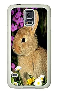 Samsung S5 case on sale Cute Gray Rabbit Flowers PC White Custom Samsung Galaxy S5 Case Cover