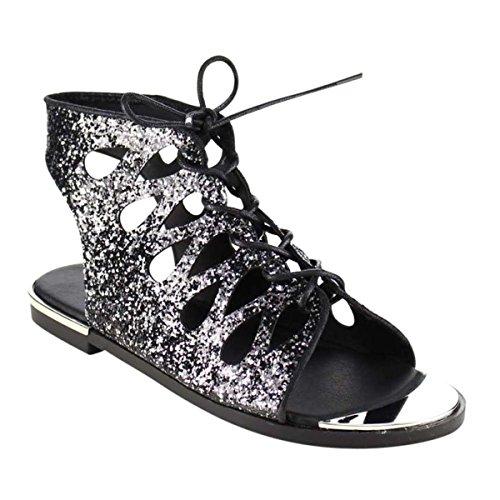 Scarpe Con Tacco Alto Glitter Scintillio Open Toe Glitter Da Donna Tg 6-10 Nero