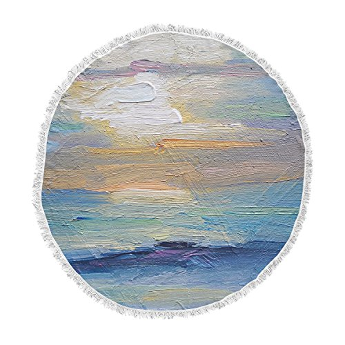 KESS InHouse Carol Schiff Ocean Sunset Blue Coastal Round Beach Towel Blanket by Kess InHouse