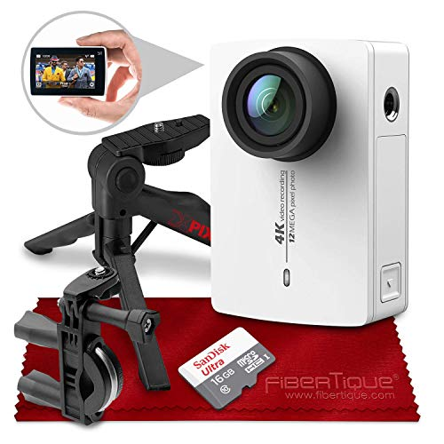 YI 4K Action and Sports Camera with EIS, Live Stream, Voice Control (White) and 16B Card Travel Photo Accessory Bundle