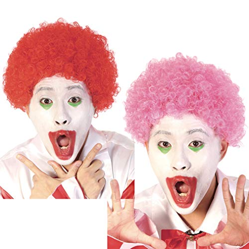 Fancy Funny Clown Afro Wig - Short Curly 70s 80s Disco Cosplay Synthetic Hair 8