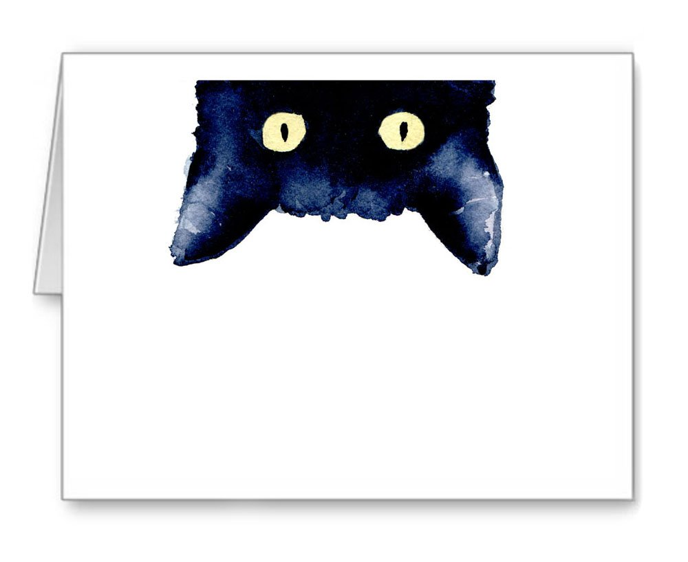 ''Sneaky Black Cat'' - Set of 10 Note Cards With Envelopes