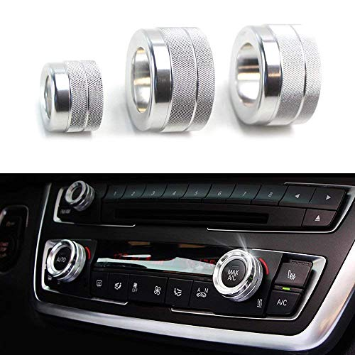 iJDMTOY 3pcs Silver Anodized Aluminum AC Climate Control and Radio Volume Knob Ring Covers For 2011-16 BMW F10 F11 F07 5 Series 5GT, 2011-17 F12 F13 F06 6 Series, Gran Coupe, 2008-15 F01 F02 7 Series ()