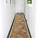 Ottomanson Ottohome Collection Contemporary Paisley Design Modern Runner Rug with Non-Skid (Non-Slip) Rubber Backing, 1'10' W X 7' L, Beige