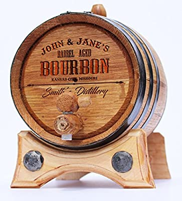 Custom Engraved Bourbon Golden Oak Barrel - Black Steel Hoops | 30 page Aging Guide | Paper Funnel | No Leaks Guarantee