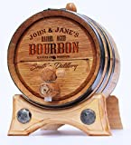 5 liter wine barrel - Personalized Whiskey Oak Barrel – 5 Liter Black Steel Hoops - Engraved Bourbon Template
